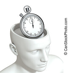 concept of time - one head of a manikin with a stopwatch...