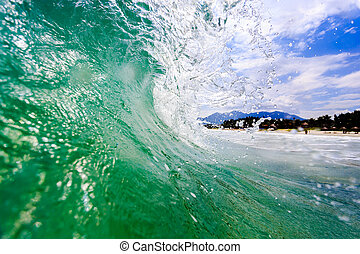 Close-up view of a powerful ocean wave