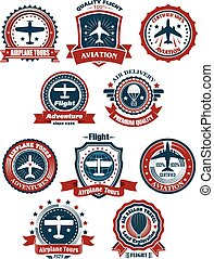 Aviation and air travel banners or emblems for travel and...
