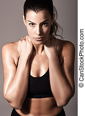 Woman, personal trainer, wearing black sportswear - Portrait...