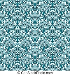 Blue repeating geometric floral pattern