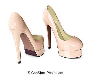 high heeled shoes on white background 3d render