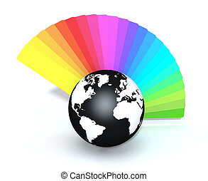 concept of colors - one color guide and a black and white...