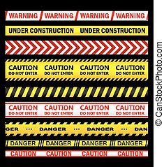 Warning, security and caution ribbons and tapes set for...