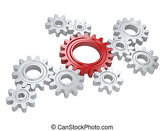 White gears and one red. Teamwork and leadership concept.