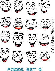 Happiness and smiling people faces with good emotions for...