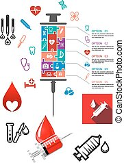 Medical and hospital infographics with icons