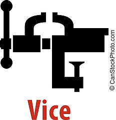 Vice tool icon with text isolated on white background for...