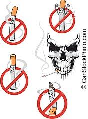 No smoking sign and skull