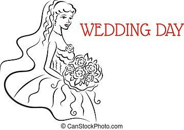 Silhouette of pretty bride with flowers