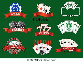Casino and gambling icons set with casino chips, bet,...
