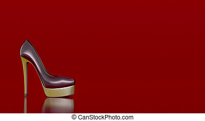 high heeled shoes - high heeled shoe on red background,...