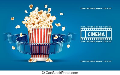 Popcorn for movie theater and cinema reel on blue background...