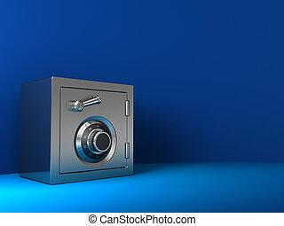 steel safe - 3d illustration of steel safe over blue...