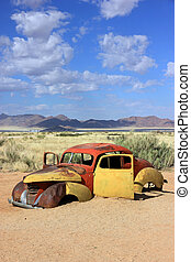 Solitaire, Namibia - Old car in the Solitaire village,...