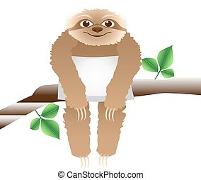 sloth with a pillow sitting on a branch, isolated on white