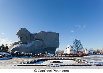 Monument Courage and an eternal flame in Brest fortress in...