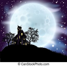 Halloween haunted house - An illustration of a scary...