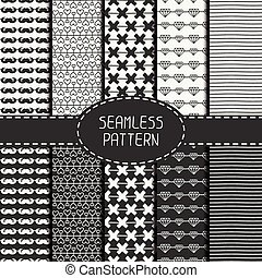 Set of monochrome hipster fashion geometric seamless pattern. Collection of paper for scrapbook. Vector background. Tiling. Hand drawn doodles. Stylish graphic texture for your design, wallpaper, pattern fills.