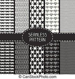 Set of monochrome hipster fashion geometric seamless pattern...