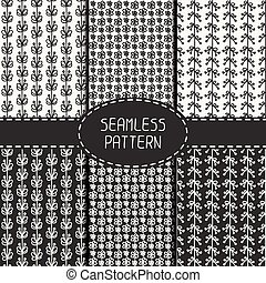 Set of monochrome floral seamless pattern with flowers. Collection of paper for scrapbook. Vector background. Tiling. Hand drawn doodles. Stylish graphic texture for your design, wallpaper, pattern fills.