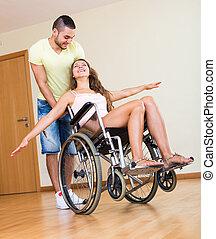 joven, Educador, y, discapacitada / discapacitado,
