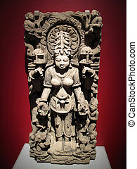 Siddha Hindu Goddess - Ancient Indian sandstone statue of...