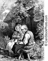 Cobbler - An engraved vintage illustration portrait of a...