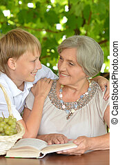 Grandmother with her grandson - Grandmother with her...