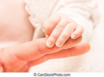 neonato, mano, bambino