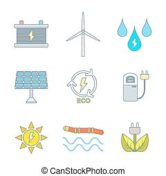 Web - vector color outline recycle ecology energy icons set