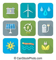 Web - vector color flat design recycle ecology energy icons...