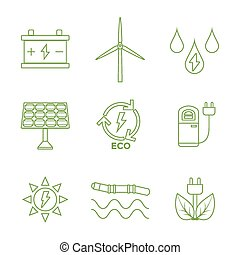 Web - vector green outline recycle ecology energy icons set...