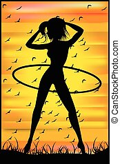 Silhouette of a slender woman doing exercises with hula-hoop...