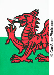 Welsh Flag - The national flag of Wales known as Y Ddraig...