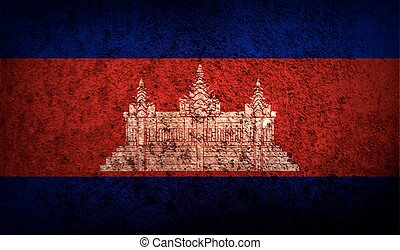 Flag of Cambodia with old texture. Vector illustration