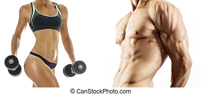 Bodybuilding. Strong man and a woman posing. Isolated on...