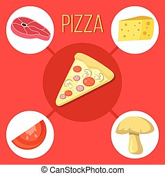 Pizza slice and pizza ingredients