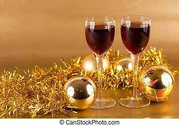Glasses of wine with Christmas decorations