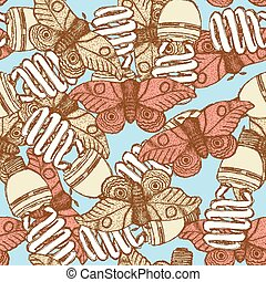 Sketch lamps and moths in vintage style, vector seamless...