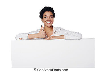Business woman showing blank credit card - Happy emotional...