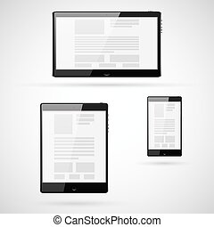 Set of tablet computers template