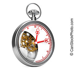 Pocket watch on white background. 3d render