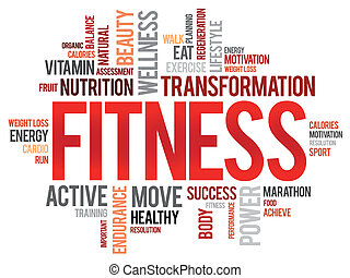 FITNESS word cloud, sport, health concept