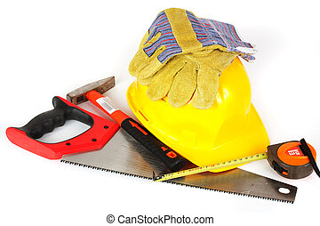 Construction tools isolated on white background - Protection...