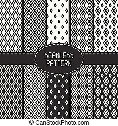 Set of monochrome geometric seamless pattern with rhombus, square. Collection of paper for scrapbook. Vector background. Tiling. Hand drawn doodles. Stylish graphic texture for your design, wallpaper, pattern fills.