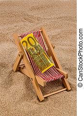 beach chair with euro bill - a deck chair with a euro...