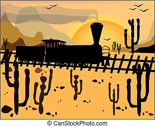 Steam locomotive on the wild west on the background of mountains
