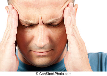 Young man with migraine - Young man with strong migraine,...