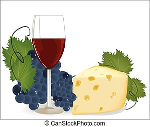 Vector wine glass with grapes and cheese